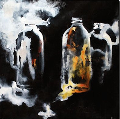 Bottled Up - Sydney Edmunds (Mixed media on canvas) 50x50