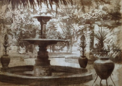 Courtyard Fountain - 36x48 UNFRAMED canvas Liz Jardine