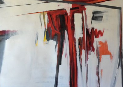 Red, gray, orange, black - KC Haxton (Mixed media on canvas) 48x48