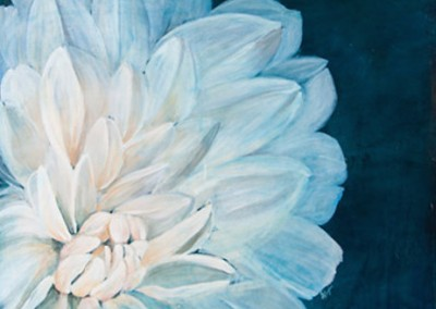 White Dahlia - Elizabeth Douglass (Mixed media on canvas) 50x60